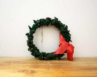 vintage 50s Christmas Silk Chenille Wreath & Red Mercury Glass Beads // Retro Christmas Decor