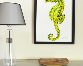 Seahorse Original Painting, gouache watercolor, large framed art, 22 x 30