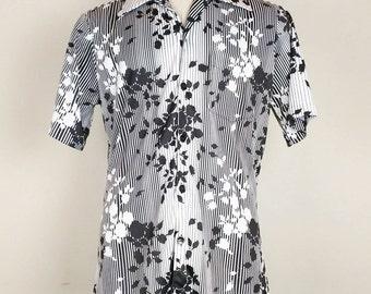 Vintage Black White Floral Stripe Shirt Mens M 1970s