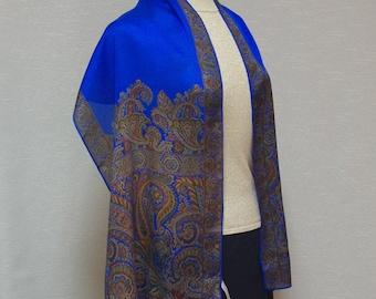 Perry Ellis vintage silk scarf Blue and brown paisley scarf Long silk scarf Perry Ellis silk shawl Long paisley shawl Textured silk scarf