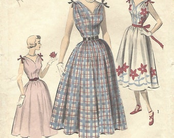 1950s Advance 5627 FF Vintage Sewing Pattern Misses Sundress, Formal Dress Size 14 Bust 32