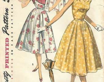 1950s Simplicity 1657 Vintage Sewing Pattern Misses Sundress, Sleeveless Dress, Full Skirt Dress, Bolero Size 14 Bust 32