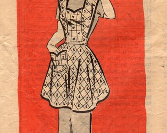 1950 Mail Order 4774 Vintage Sewing Pattern Ladies Full Apron Size Medium