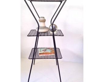 vintage table - black metal end table - bookshelf - plant stand