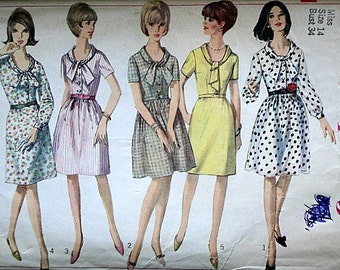 Misses' One-Piece Dress with Two Skirts, Simplicity 6446 Vintage 60's Sewing Pattern, Size 14, 34 Bust, Mad Men Mod 1960's Fashion
