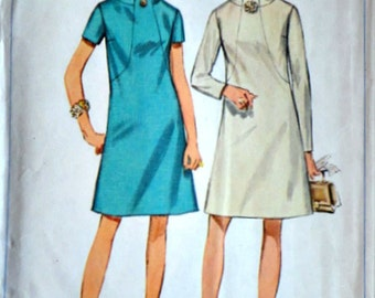 Vintage 60's Simplicity 7807 Sewing Pattern, Misses' Dress, Size 14, 36 Bust, Mad Men Mod