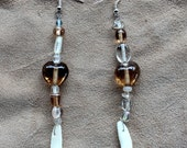 Real coyote tooth fang earrings with crystal and brown glass beads - simple nature jewelry for costumes, holidays, more