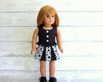 Ruffled Top and Pleated Mini Skirt, American Made Girl Doll Clothes, Black Polka Dot 18 inch Doll Outfit