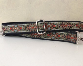 Bag Strap for Handbag, Metallic Gold and Red Trim, 2 Inch Width
