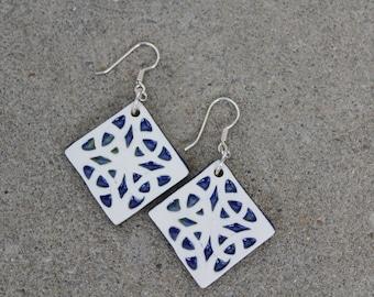 Blue Celtic Diamond Earrings