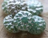 GREEN MERCURY DAHLIAS .. 6 Picasso Czech Glass Flower Beads 14mm (5161-6)