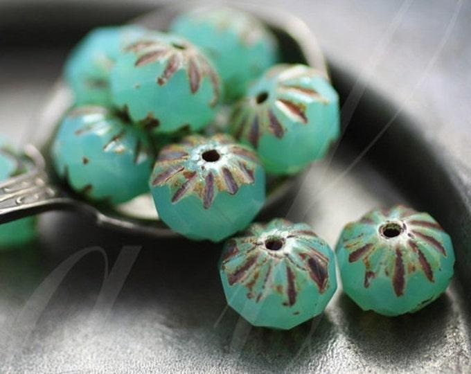 LAGOON CRULLER .. 10 Picasso Czech Glass Cruller Beads 9x6mm (2813-10)