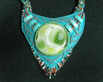 FREE SHIP Summer Camp Aqua & turquoise beadwork Necklace with Green fused glass Cabochon by Lauren Urban  - BearlyArtDesigns