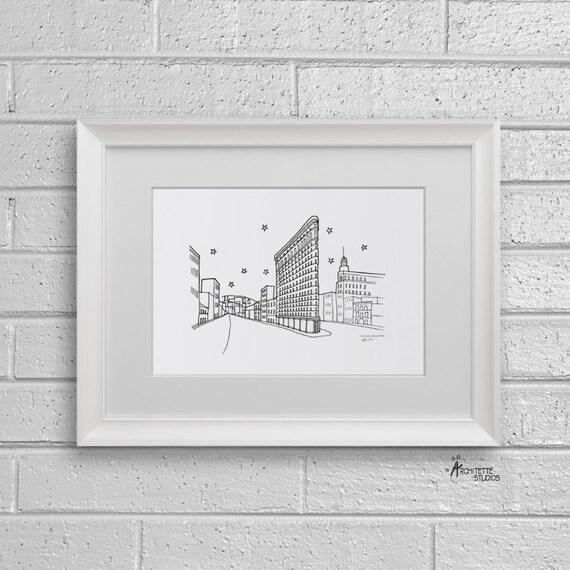 Sketch Series - Flatiron Building, New York City - Art Print (5 x 7)