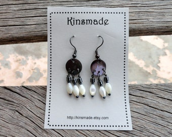 Day to Night  Chandelier Earrings mother of pearl / shell / hematite