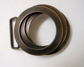 Classic Belt Buckle -  Brass Tunnel by STS - forged belt buckle - modern brass belt buckle -