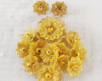 1940s Vintage Celluloid Yellow Flower Pendant and Earrings Demi Parure
