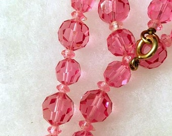 Czech 1920s Pink Crystal Beads Necklace . Vintage Art Deco Jewelry . 20s Heavy Faceted Bohemian Bead Necklace . Dazzling Brilliant Vivid