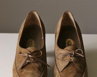 1980s Olive Yoshinoya Heels >>> Size 4 to 4-1/2