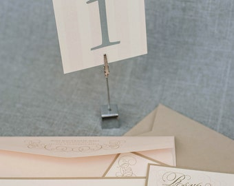 Blush Pink and Silver Gray Striped Wedding Table Number - Mackenzie and Greg