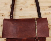 Explorer Leather Messenger Bag with Key Fob and Pocket