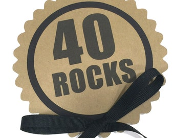40 Rocks Birthday Cake Topper - Birthday Cake Decoration, Black and Kraft Brown or Your Colors
