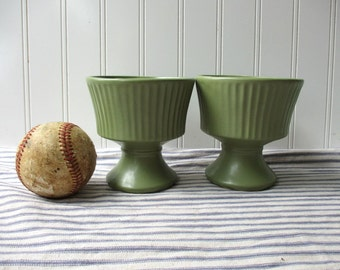 PAIR Vintage Green Floraline vases McCoy pottery flower pot flower pot planter 470 moss green pedestal vase 4 1/2 inch