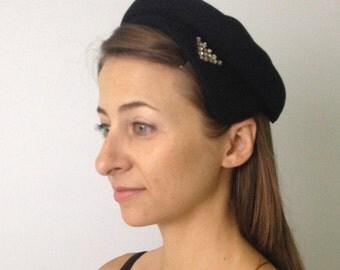 Vintage Hat / Fifties Hat / Sixties Hat / Black Vintage Hat with Rhinestones