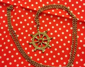 Vintage Japan Showa Era Retro Girl Helm Faux Ruby Diamond Pendant Necklace With Gold Tone Chain