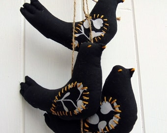 Blackbirds, flock of 6 hand made birds, applique, embroidery,black, white, vintage fabric,