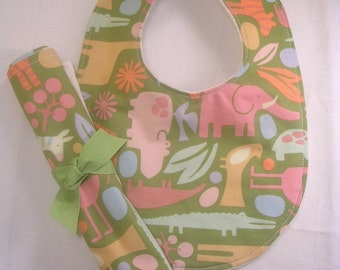 Clearance Bib and Burp Cloth Set, Baby Shower Gift, Baby Bib , Burp Cloth, Baby Bib Zoo , Boutique gift set On Sale