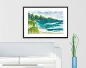 Art Painting  Landscape Tropical Beach Caribbean Palm Tree Jamaica Watercolor PRINT