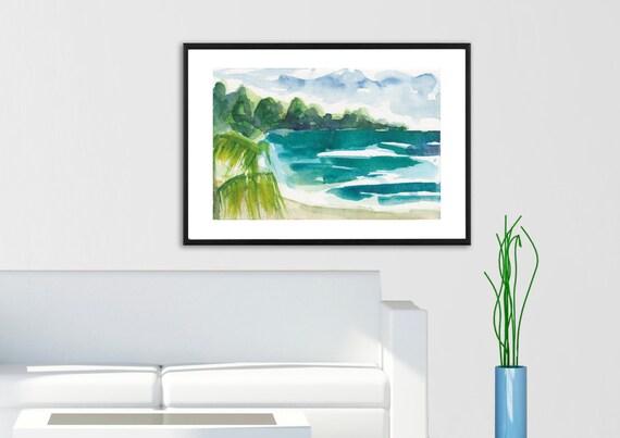 Art Painting  Landscape Tropical Beach Caribbean Palm Tree Jamaica Watercolor PRINT