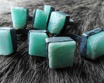 Amazonite ring | Raw amazonite ring | Chunky amazonite ring | Rough stone ring | Turquoise stone ring | Multistone ring | Amazonite jewelry