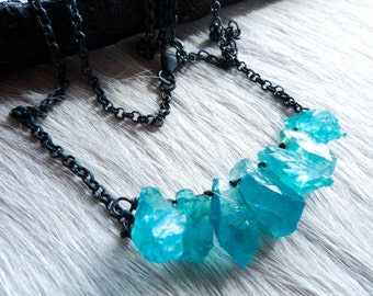 3 DAY SALE Apatite necklace | Raw apatite necklace | Boho necklace | Rough stone necklace | Apatite crystal necklace | Brazilian jewelry