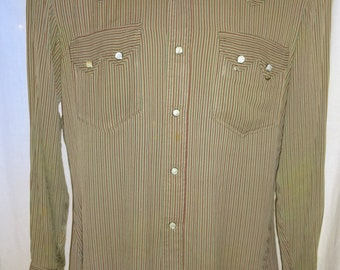 Classic Vintage 1950's Striped Rockabilly Levi's Western Shirt S/40""