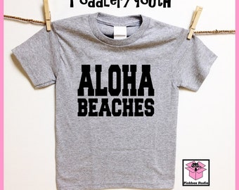ALOHA Beaches. Heather Gray Baby bodysuit, Toddler or Youth t shirt. Childrens clothing.Hello. Hawaiian life. Beach life. Salt life. Islands