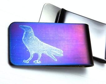 STANDING RAVEN Money Clip  -  BIRD Money Clip  -  Gifts for Men  - Bird Silhouette - Crow
