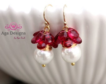 Ruby color, Wedding, bridal earrings  - fresh earrings with big white shell pearls and briolettes of pink Quartz