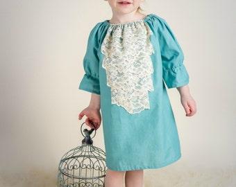 Blue Peasant dress, Girl's Easter dress, Summer dress, Spring dress, infant dress, toddler dress, Bohemian dress, sizes Newborn through  6X