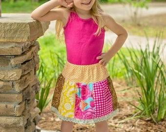 Girls skirt - toddler skirt - twirl skirt - baby skirt - leopard skirt - BOHO skirt - bohemian skirt - summer skirt - knee length skirt