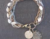 Antique Catholic Medallion Bracelet with Upcycled Rosary Beads - Saint Anthony and Saint Ann