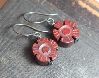 Burgundy Red Earrings Red Gemstone Flower Earrings Rustic Jewelry