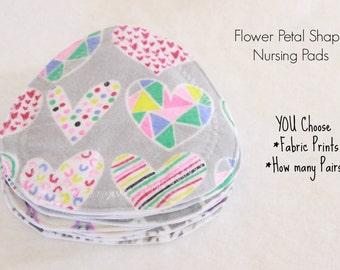 Nursing  Pads, Flower petal/triangle shape, breast pads, CUSTOM / you choose prints,baby shower gift