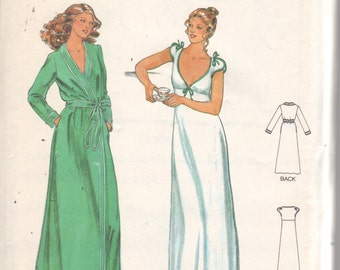 1980s Butterick 6370 Misses Low Cut Nightgown Wrap Robe Pattern JOHN KLOSS Womens Vintage Sewing Pattern Size 10 Bust 32 UNCUT
