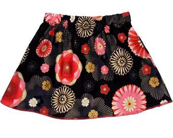 Zen Blossom - Japanese Skirt - Toddler Girl - Black Skirt - Floral - Japanese Clothing - Girls Skirts - Skirt - Toddler Skirt - 3T on SALE