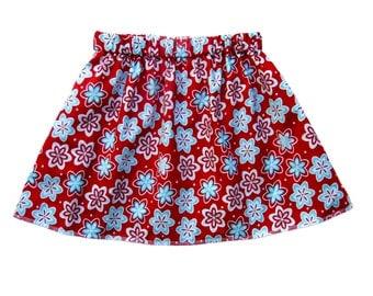 Kawaii - Blossom Skirt - Red Skirt - Toddler Girl - Floral Skirt - Red and Blue - Girls Skirts - Baby Skirt - Toddler Skirt - 3m to 8