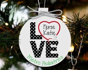 Love nursing personalized Christmas ornament LNCO