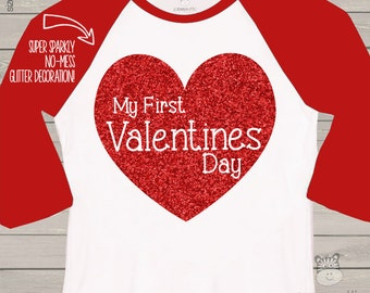 My First Valentine shirt sparkly red heart raglan shirt - fun red glitter 1st Valentine's Day shirt