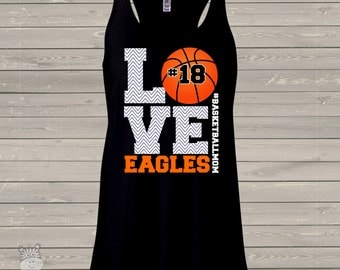 Basketball mom chevron LOVE dark flowy tank top - great gift for birthday or Mother's Day